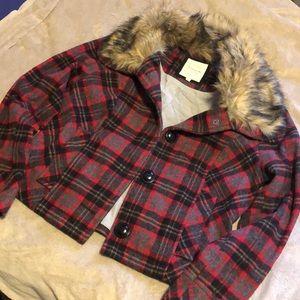 🌟HERITAGE 1981🌟Wool blend coat w/faux fur collar